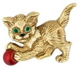 Enamel Kitten Brooch