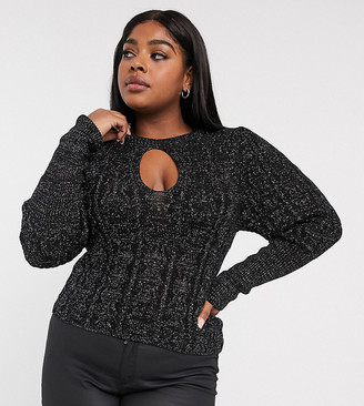 ASOS DESIGN Curve cut out metallic cable sweater