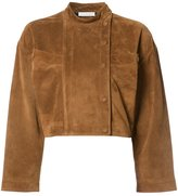 J.W.Anderson cropped jacket - women - Calf Leather/Suede/Cupro/Viscose - 6