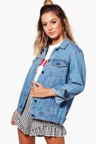 boohoo Petite Kelly Boyfriend Fit Denim Jacket