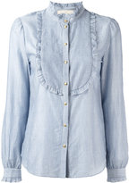 Vanessa Bruno striped bib shirt - women - Cotton/Lyocell - 36