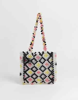 Glamorous multi colored resin beaded shoulder bag