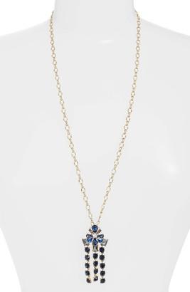 Stella + Ruby Floral Crystal Fringe Pendant Necklace