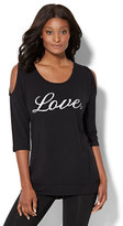 "New York & Co. Lounge - ""Love"" Cold-Shoulder Tunic"