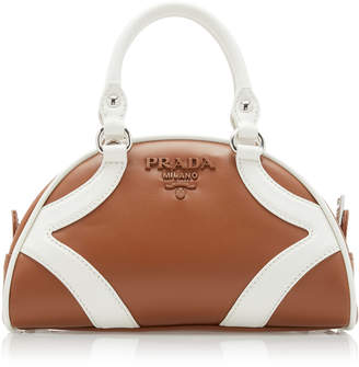 Prada Two-Tone Leather Top Handle Bag