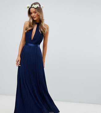 TFNC Pleated Maxi Bridesmaid Dress with Cross Back and Bow Detail-Navy