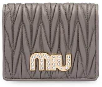 Miu Miu Matelasse Embellished Logo Wallet