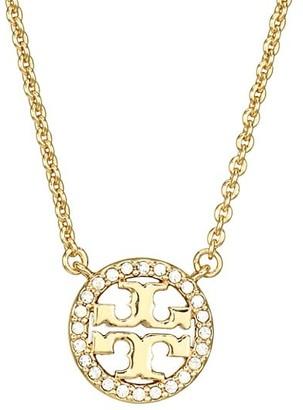 Tory Burch Crystal Logo Pendant Necklace