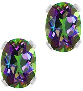 Gem Stone King 3.20 Ct Oval Mystic Topaz Silver Plated 4-prong Stud Earrings 8x6mm