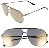 Tom Ford Women's 'Dominic' 60Mm Aviator Sunglasses - Dark Brown/ Gradient Roviex