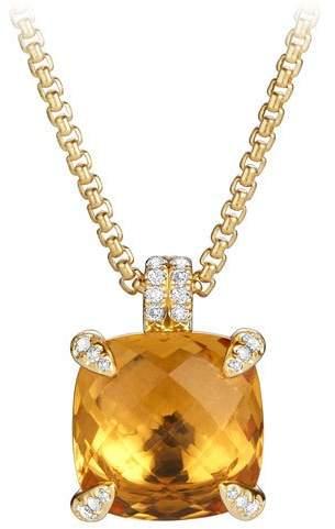 David Yurman 14mm Châtelaine Pendant Necklace in 18K Gold with Citrine & Diamonds