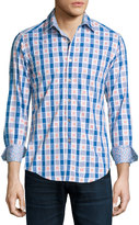 Robert Graham Happy Feet Check-Print Sport Shirt, Cobalt