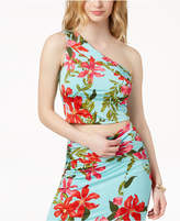 GUESS Floral-Print One-Shoulder Top