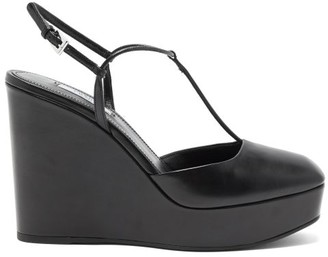 Prada Square-toe T-bar Leather Wedges - Black
