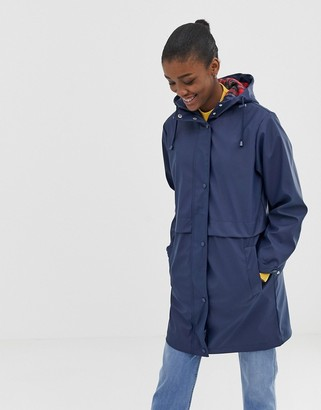 Asos Design DESIGN raincoat with brushed check lining-Blue