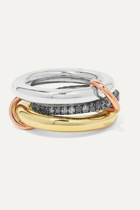 Spinelli Kilcollin Libra Set Of Three 18-karat Yellow And Rose Gold And Rhodium-plated Sterling Silver Diamond Rings