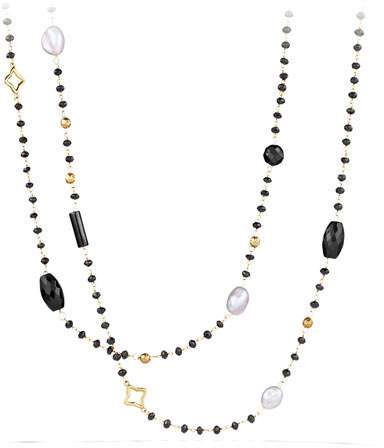 David Yurman Bead and Chain Quatrefoil Necklace with Labradorite, Milky Aquamarine, and Iolite in Gold