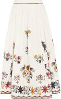 Mes Demoiselles Gretel Embroidered Cotton Midi Skirt - White