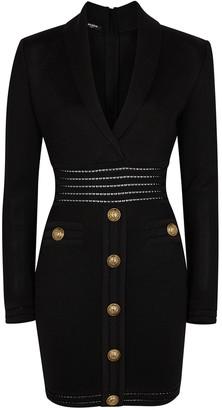 Balmain Black button-embellished mini dress