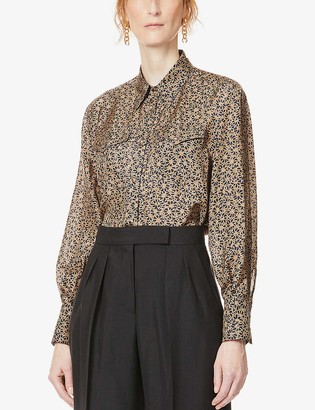 Brunello Cucinelli Floral-print silk-crepe shirt