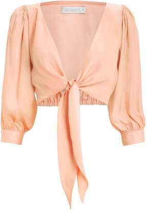 Carolina K. Tia Cropped Tie Front Blouse