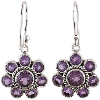 Novica Handmade Amethyst Dangle Earrings, 'Morning Glitter in Purple'