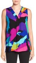Chaus 'Colorful Splash' Sleeveless V-Neck Blouse