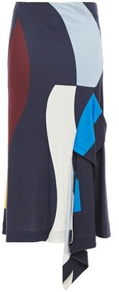 Victoria Beckham Draped Color-block Stretch-jersey Midi Skirt