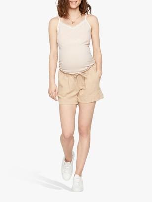 Mama Licious Mamalicious Maternity Linen Woven Shorts, Beige