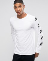 Nike International T-shirt With Arm Print In White 803981-101