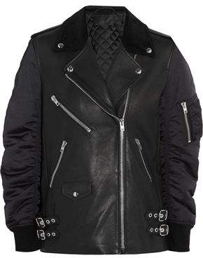 Alexander Wang Corduroy-Trimmed Leather And Shell Biker Jacket