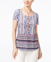 Style&Co. Style & Co Petite Floral-Print Sublimated T-Shirt, Only at Macy's
