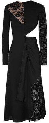 Givenchy Cutout Wool-crepe, Silk Crepe De Chine And Lace Midi Dress