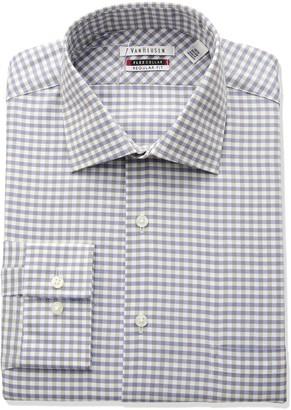 Van Heusen Men's Flex Regular Fit Gingham Spread Collar Dress Shirt