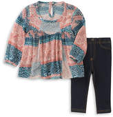 Lucky Brand Two-Piece Patterned Blouse and Denim Leggings Set