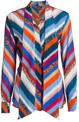 Altuzarra Newberry Sequin Stripe Silk Tieneck Top