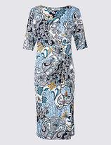 Classic Ruched Paisley Print Shift Midi Dress