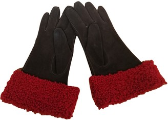 Saint Laurent Brown Leather Gloves