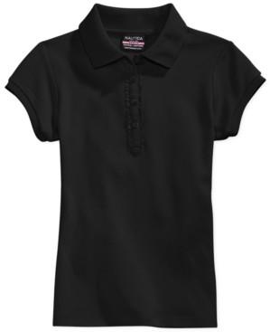 Nautica Big Girls School Uniform Ruffle Button Placket Polo