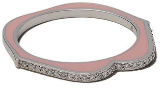 Raphaele Canot 18kt white gold OMG enamel and diamond ring