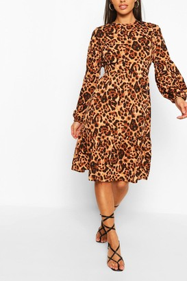 boohoo Animal Print Long Sleeve Midi Smock Dress