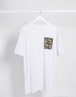 ASOS DESIGN t-shirt dress with leopard print pocket in white