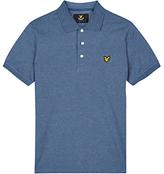 Lyle & Scott Three Colour Mouline Polo Shirt, Blue Steel