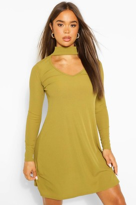 boohoo Cut Out High Neck Swing Dress