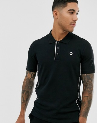Jack and Jones Core polo in black with logo detail