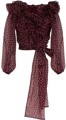 Dolce & Gabbana ruffled polka-dot silk-chiffon blouse