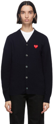 Comme des Garcons Navy and Red Wool Mens Fit Heart Patch V-Neck Cardigan