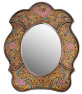Reverse Painted Glass Wall Mirror, 'Garden of Gold'