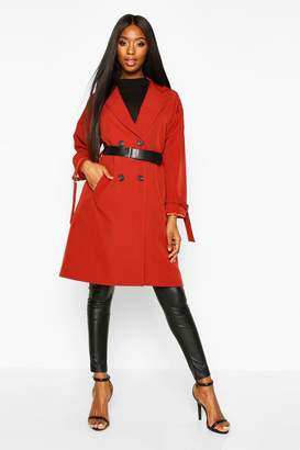 boohoo Faux Leather Belted Trench Coat