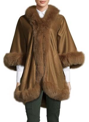 Wolfie Fur Fox Fur-Trim Cashmere & Wool Cape